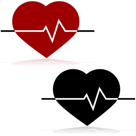 heart attack: Icon illustration showing a heart and a line monitoring the heart rate on top of it