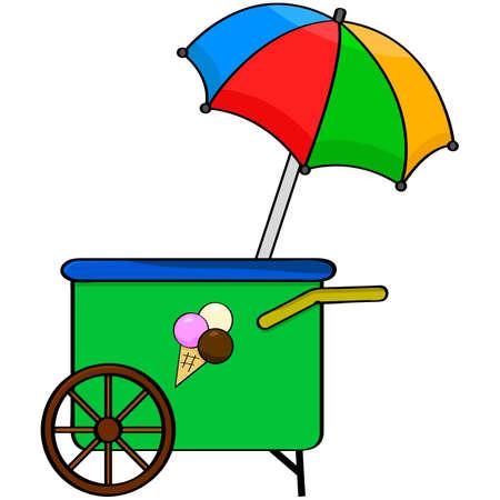 ice cream cart: Cartoon illustration showing an ice cream cart