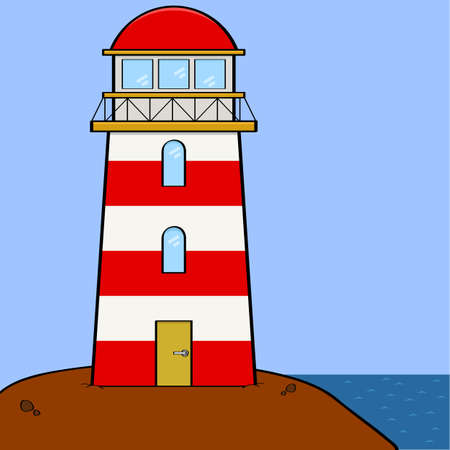 beacons: Cartoon illustration showing a lighthouse sitting on a cliff near the sea Illustration