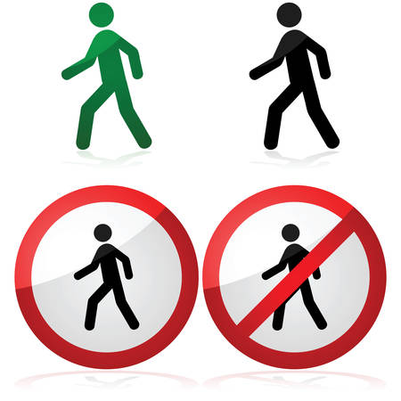 Icon illustration showing a man walking as well as a walking allowed and prohibited signs