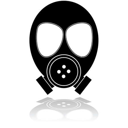 oxygen mask: Icon illustration showing a mask used for protection against poisonous gas