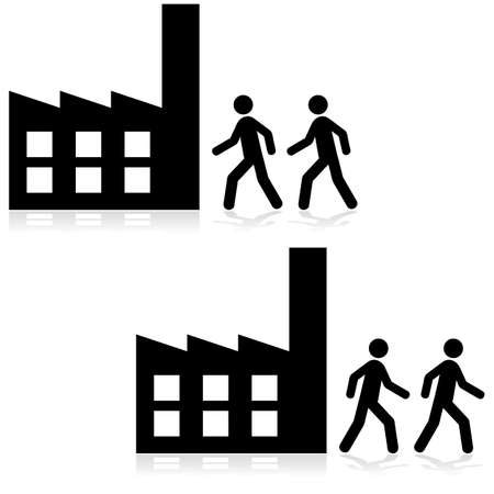 Concept illustration showing people arriving and leaving a factory building