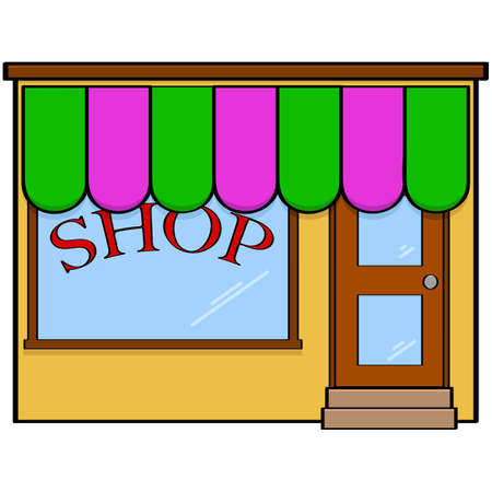 Cartoon illustration showing a simple, classic looking storefront