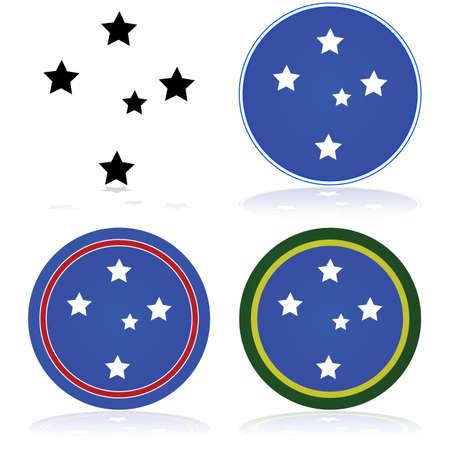 Icon set toont een gestileerde versie van de Southern Cross constellatie