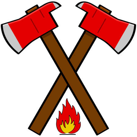 open flame: Cartoon illustration showing a couple of fireman axes over a little flame icon