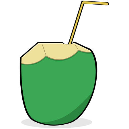 coconut water: Cartoon illustration showing a straw inserted in a coconut to drink the water inside it
