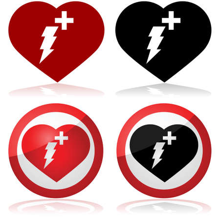 heart attack: Defibrillator icon set showing a heart with a lightning and a cross inside it Illustration