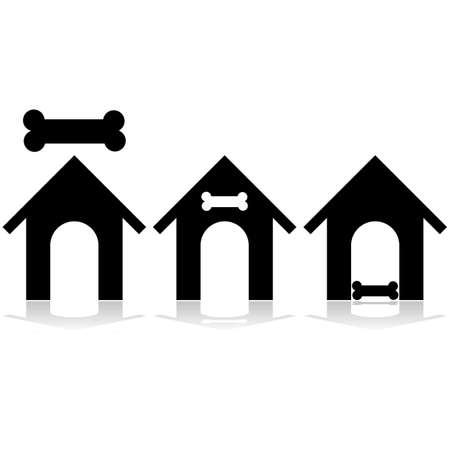 animal shelter: Icon set showing a dog house and a bone  Illustration