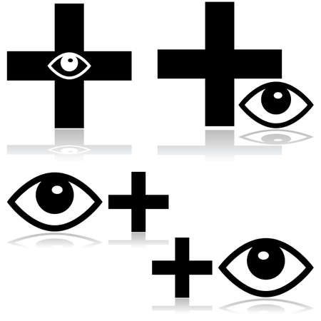 Concept illustration showing an icon for an eye doctor Vector