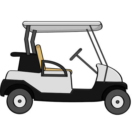 Cartoon illustration of an empty golf cart Çizim