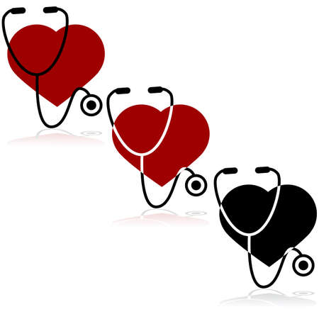 heart attack: Icon set showing a heart and a stethoscope