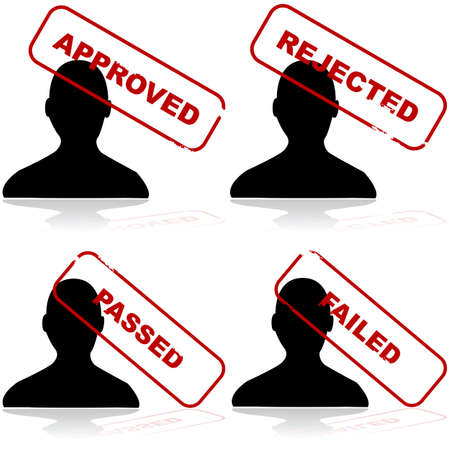 rejection: Icon set showing the outline of a person and different stamps showing acceptance or rejection Illustration