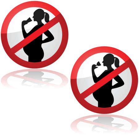 Sign showing pregnant women are not allowed to drink alcohol Illustration