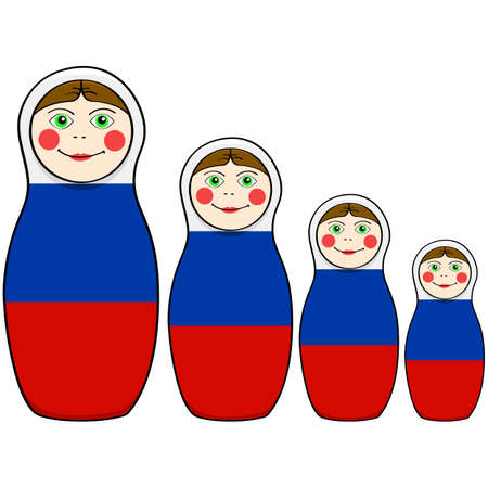 Cartoon illustration showing russian dolls in different sizes painted with the colors of the Russian flag