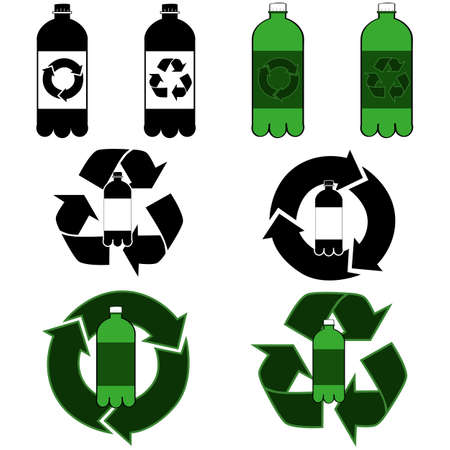 discard: Icons showing a plastic bottle and recycling signs Illustration