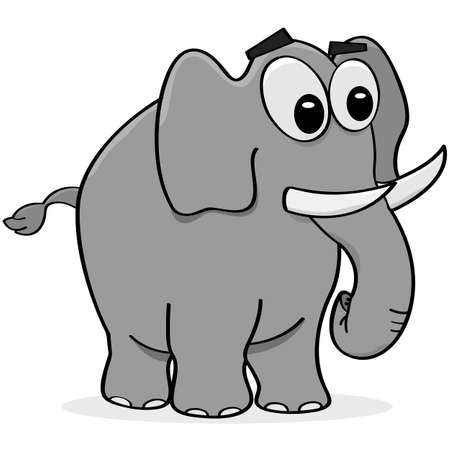 grey: Cartoon illustration of a grey elephant walking