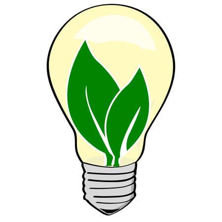 Concept illustration showing green leaves inside a light bulb