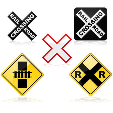 railroad crossing: Icon set showing different traffic signs for a railroad crossing