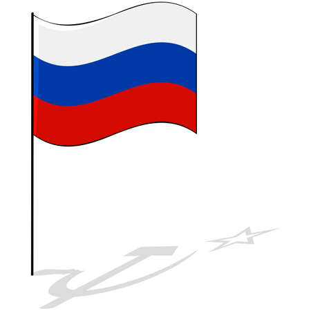 Concept illustration showing the flag of Russia and the shadow of the soviet era hammer and sickle