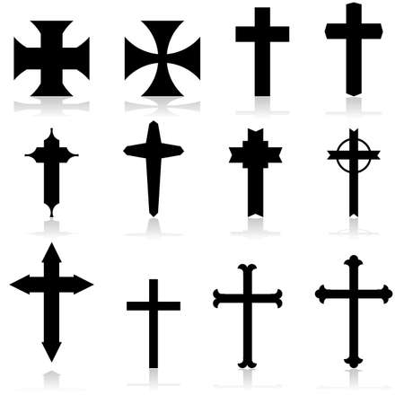 mass: Icon set showing crosses in different patterns and designs