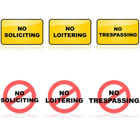 loitering: Set of signs for no loitering, soliciting or trespassing Illustration