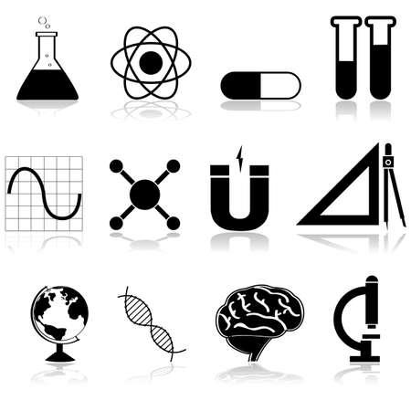 magnetismo: Icon set mostrando diverse materie scientifiche a scuola e all'università