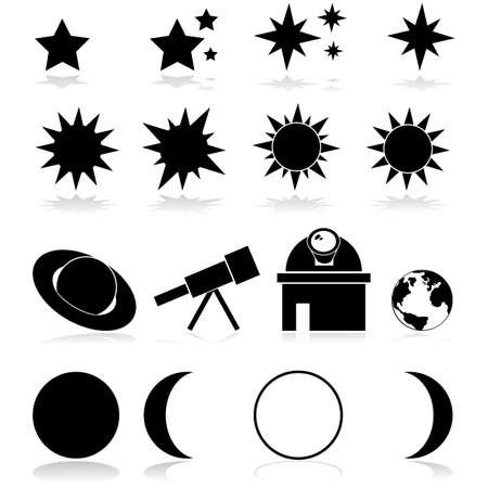 Set met verschillende astronomie-gerelateerde artikelen en pictogrammen