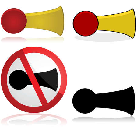 honking: Icon set showing a horn and a sign for no honking Illustration