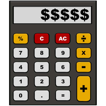 Cartoon illustration showing a calculator with dollar signs in the display area Illustration