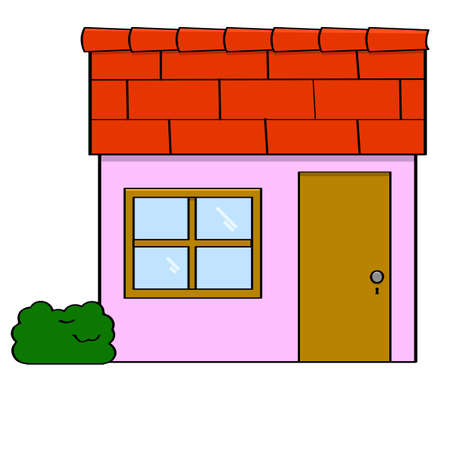 simple house: Cartoon illustration of a small simple house with a door and a window