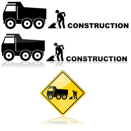 Construction icon showing a truck and a worker behind it