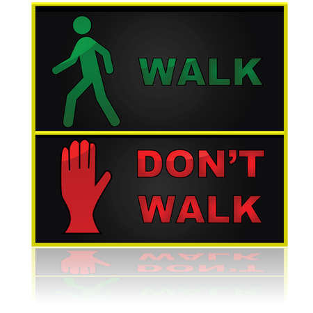 Illustration showing a walk and don't walk sign for pedestrians Ilustração