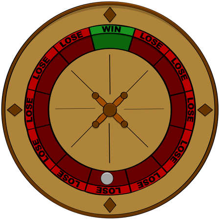 Concept illustration showing a roulette with the odds of winning represented in green and of losing represented in red