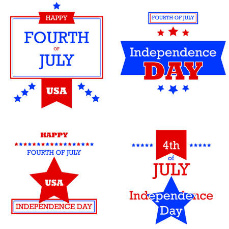 Retro style cards for the 4th of July, the United States of Americas Independence Day Vector