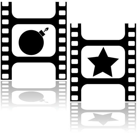 releasing: Concept illustration showing a film strip with a bomb and a star, for good and bad movies