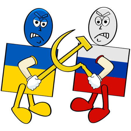 Concept illustration showing a Ukrainian flag fighting with a Russian flag