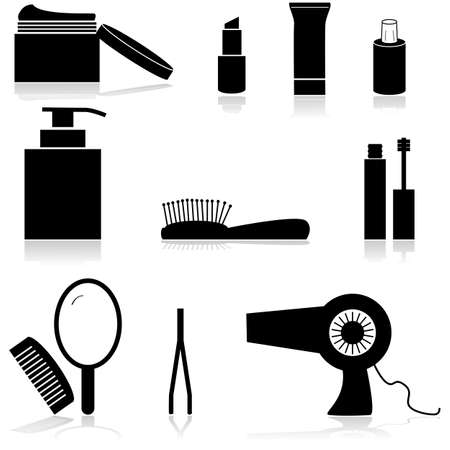 hair beauty: Icon set showing different beauty items such as creams, a mirror and a hairdryer