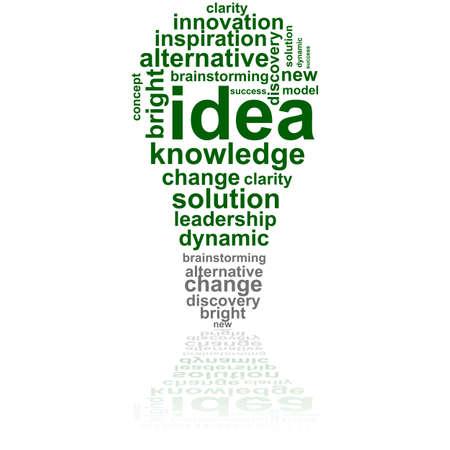 단어들로 구성 전구를 보여주는 컨셉 그림은 아이디어와 영감에 관한 일러스트