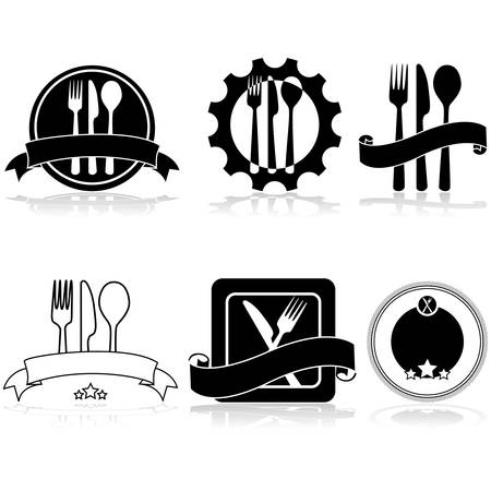 Icon set showing different food related labels and badges