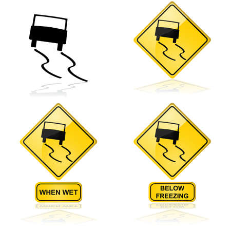 Icon showing a car skidding on a slippery road or surface
