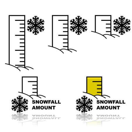 降雪の異なった量を測定するために雪に埋もれた定規を示す概念図