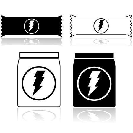 barra de cereal: Los iconos que muestran las barras de cereal de potencia y suplemento alimenticio en polvo Vectores