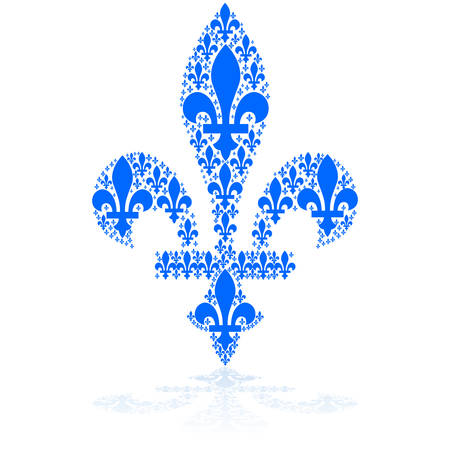 smaller: Concept illustration showing a blue fleur-de-lys icon made up of smaller versions of it Illustration