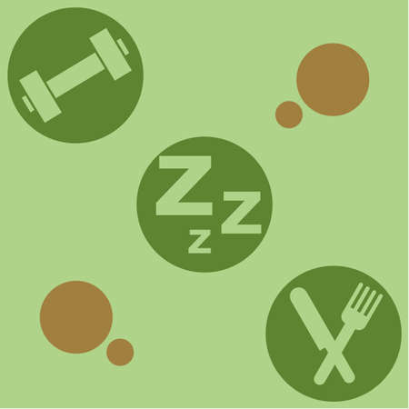 Retro style illustration showing the ingredients needed for a healthy life: exercise, sleep and good nutrition