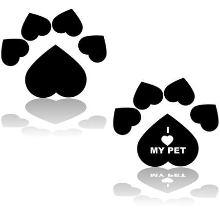 Concept illustration showing an animal paw shaped like a heart with the message I love my pet inside one of them Vector