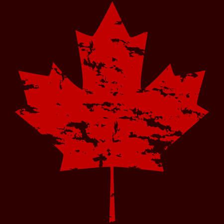 Grunge version of a Canadian maple leaf, over a dark red background Ilustração