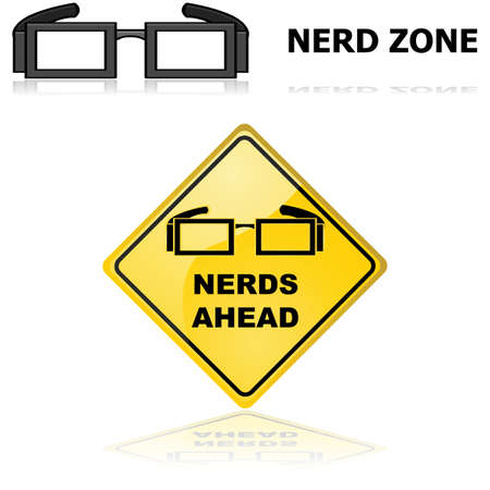 Concept illustration showing signs for a Nerd zone and announcing that Nerds are ahead