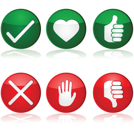 reject: Icon set with different positive and negative options for interaction buttons