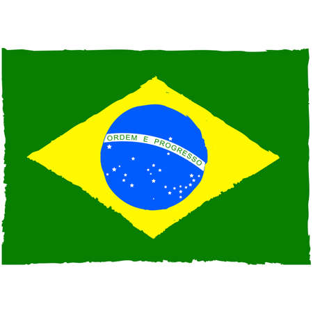 Concept illustration showing a painted Brazilian flag