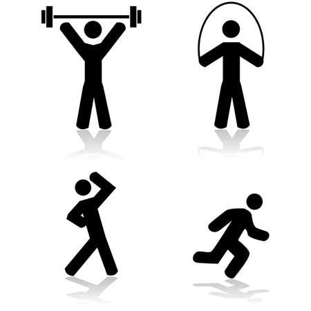 aktywność fizyczna: Zestaw ikon przedstawiający osobę, robi różne rodzaje ćwiczeń